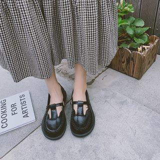 Faux Leather Plain T-strap Flats