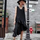 Ruffled Sleeveless A-line Midi Dress