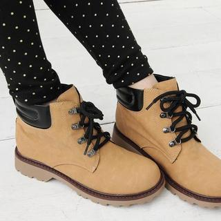 Faux-leather Lace-up Short Boots