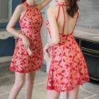 Halter A-line Lace Cocktail Dress