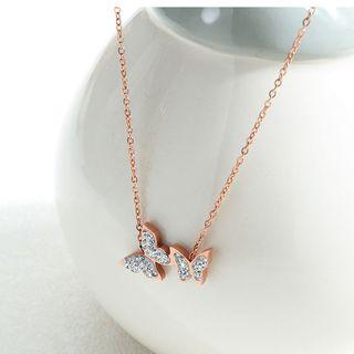 Rhinestone Butterfly Necklace 1533 - One Size