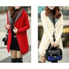 Hooded Cable Knit Coat