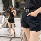 Distressed Cotton / Denim Shorts