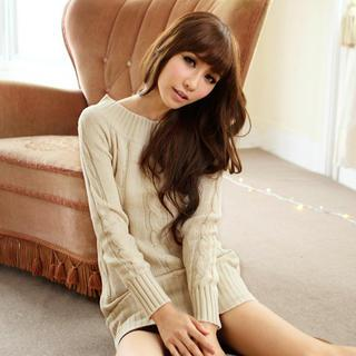 Cable-knit Long Sweater