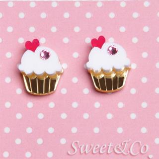 Mini White Cupcake Crystals Stud Earrings