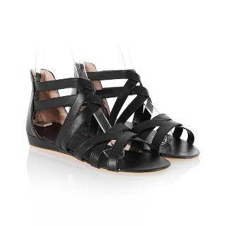 Faux-leather Strappy Wedge Sandals