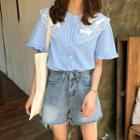 Embroidered Gingham Short-sleeve Shirt