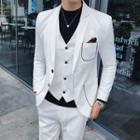 Suit Set: Contrast-trim Blazer + Vest + Dress Pants
