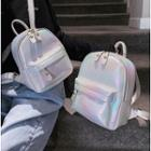 Faux Leather Iridescent Backpack