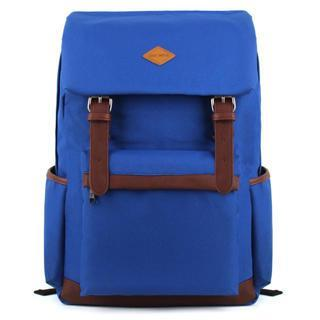 Faux Leather Trim Canvas Backpack