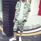 Set: Short-sleeve Camouflage Jacket + Cropped Sweatpants
