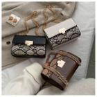 Python Print Faux Leather Shoulder Bag