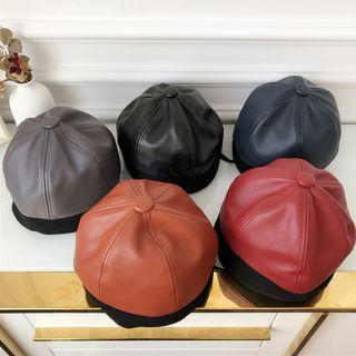 Faux Leather Brimless Hat