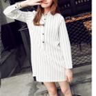 Pinstriped Long-sleeve Shirtdress