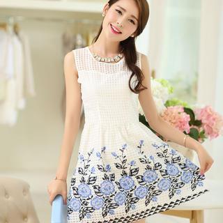 Sleeveless Floral Check Dress