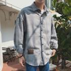 Long Sleeve Plaid Woolen Shirt