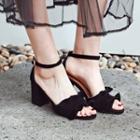 Frilled Block Heel Sandals