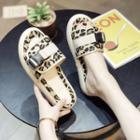 Leopard Print Flat Slide Sandals