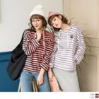 Applique Striped Hooded Top