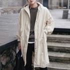 Hooded Drawstring Waist Trench Coat