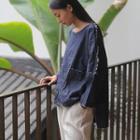 Long-sleeve Denim Top Dark Blue - One Size