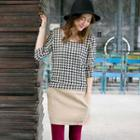Long-sleeve Houndstooth Panel Dress