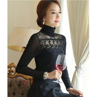 Embroidered Mesh Panel High Neck Long-sleeve Top