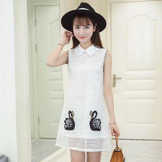 Swan Embroidered Sleeveless Collared Dress