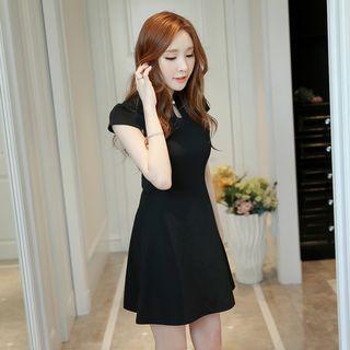 Mandarin Collar Short Sleeve Dress