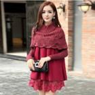 Mock Two-piece Lace Panel Long-sleeve Knit Dress