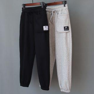 Drawstring Pocket Detail Plain Sweatpants