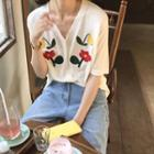 Short-sleeve Floral Embroidered Cardigan