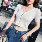 Short-sleeve Zip-up Crop Knit Top