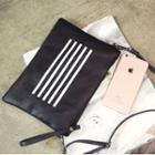 Stripe Faux Leather Clutch