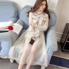 Lace Panel Long-sleeve Midi Mesh Dress