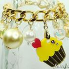 Mini Gold-yellow Cupcake Swarovski Crystal Charm Bracelet Gold - One Size