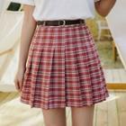 Plaid Mini A-line Pleated Skirt With Belt