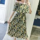 Floral Print Off Shoulder Elbow Sleeve Midi Dress