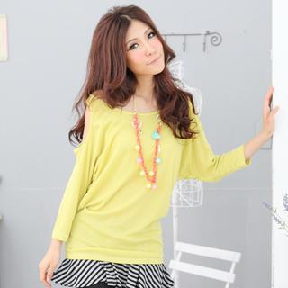 Cut-out Shoulder Long Sleeve Tee