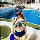 Floral Print Frilled Bikini