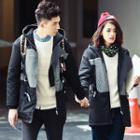 Matching Couple Panel Drawstring Waist Hooded Jacket