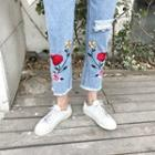 Rose Embroidered Distressed Jeans