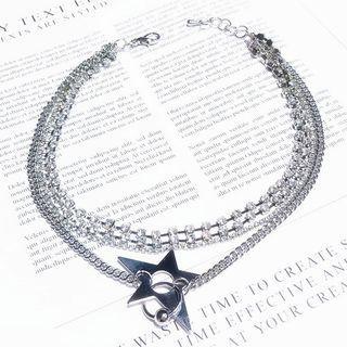 Star Layered Choker Silver - One Size