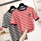 Cartoon Embroidered Short-sleeve Striped Knit Top