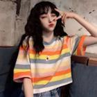 Elbow-sleeve Striped T-shirt / Tank Top