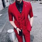 Set : Elbow-sleeve Blazer + Vest + Dress Pants