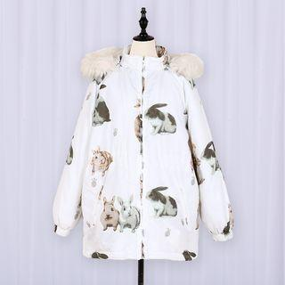Rabbit Print Hooded Padded Coat/ Down Coat