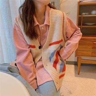 Patterned Knit Vest / Shirt Jacket