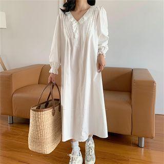 Eyelet Trim Long-sleeve Midi A-line Dress