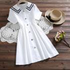 Sailor Collar Button Front Short-sleeve Dress
